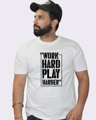 Khopche work hard play harder white tshirt